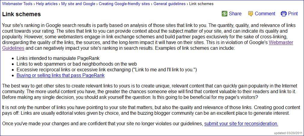 Google's Webmaster Tools on Link Building