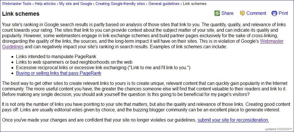 Google's Webmaster Tools on Link Building
